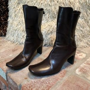 Brown Leather Mid Calf High Heeled Boots